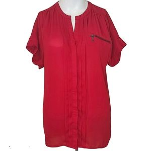 RW & CO Red Rolled Sleeve Tunic Blouse